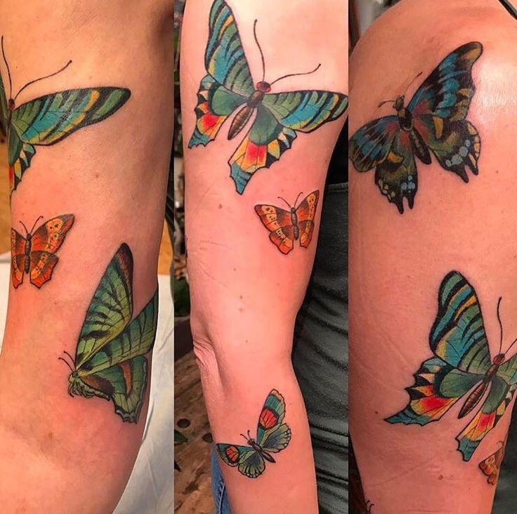 Butterfly tattoos by Kim Saigh at Memoir Tattoo