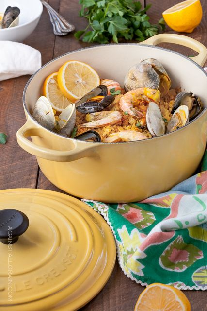 Mixed Seafood Paella sits on a bed of cauliflower 'rice'.  Great recipe, great pot!