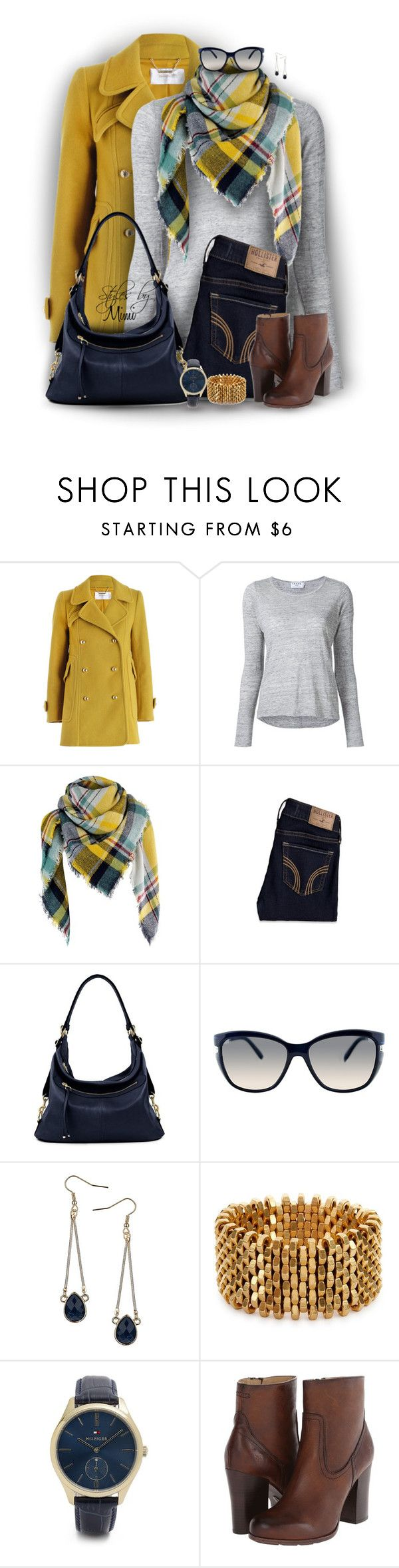 """""""Marigold Plaid (1.7.17)"""" by stylesbymimi ❤ liked on Polyvore featuring Zimmermann, Frame, Hollister Co., Fendi, Dorothy Perkins, Alice Menter, Tommy Hilfiger and Frye"""