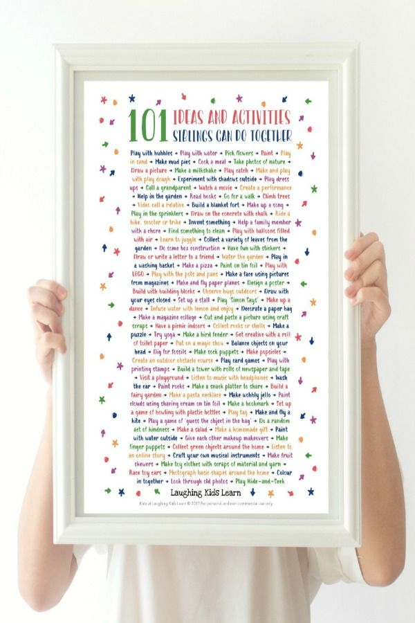 101 simple activities and play ideas for siblings to do together. No more I'm bored or fighting.