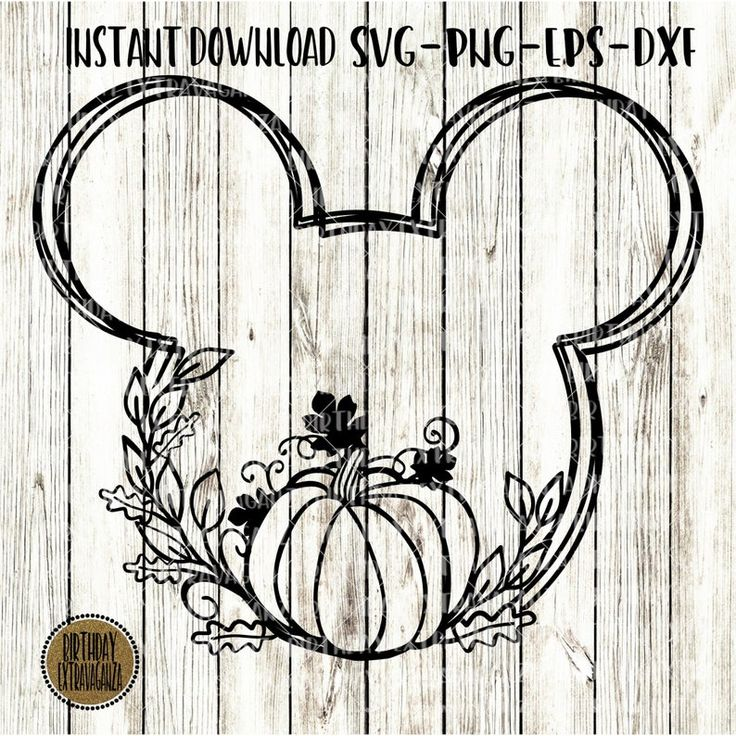 Mickey Pumpkin Svg Leaf Outline Disney Halloween Svg
