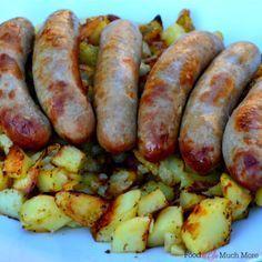Aardappel Braadworst ovenschotel. Alles in 1 schaal. Zalig en makkelijk. Recept van foodensomuchmore.nl
