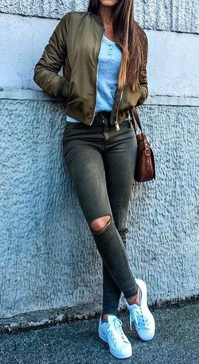 #fall #fashion ·  Green Jacket & Ripped Jeans + White Sweaker