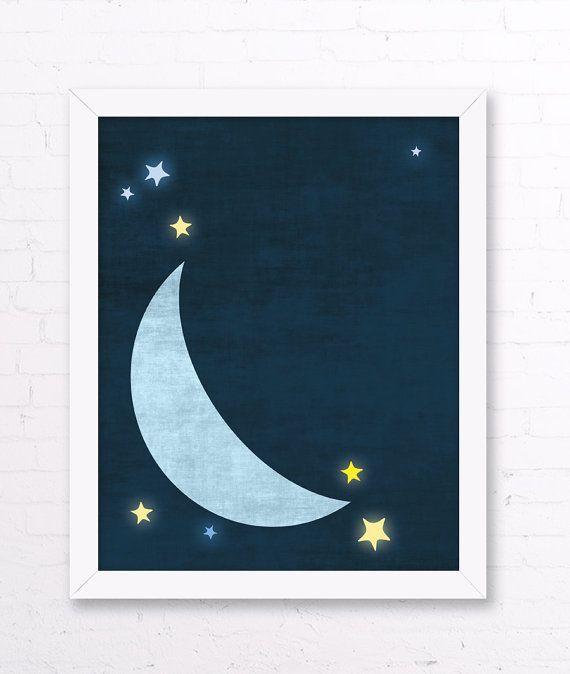 Moon Nursery Print - Moon Stars Wall Art, Navy Yellow Kids Room Decor