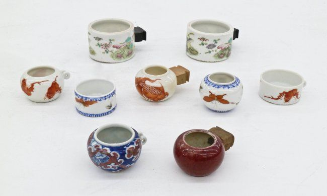 9pc Antique Chinese Bird Feeders Porcelain. Includes a : Lot 190