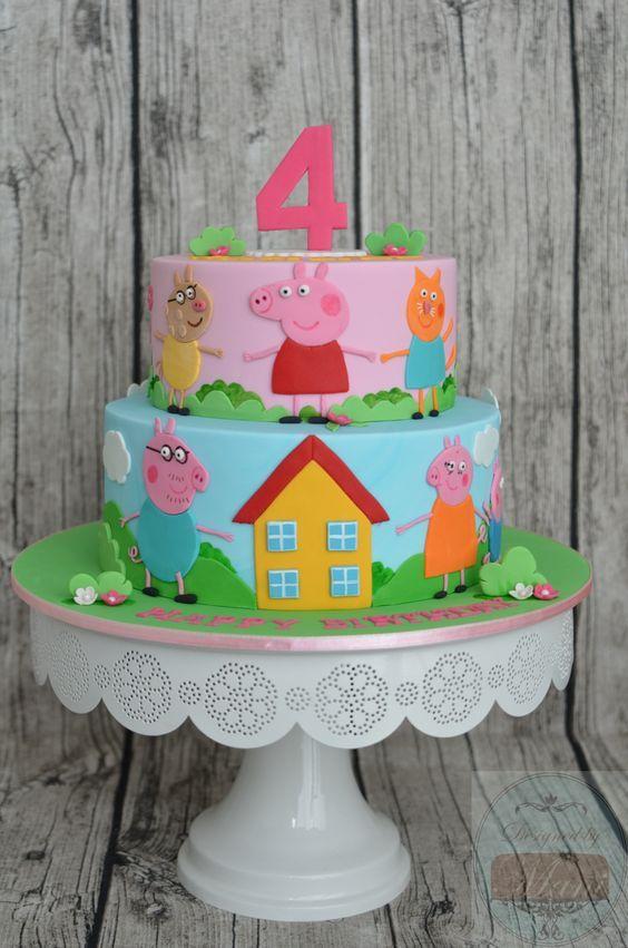 Peppa Pig Cake Ideas -  Family & Friends Cake  Birthday Party Cake, Peppa Pig, George Pig, Daddy Pig, Mummy Pig, Suzy Sheep, Rebecca Rabbit, Danny Dog, Emily Elephant, Candy Cat, Delphine Donkey, Zoe Zebra, Muddy Puddle