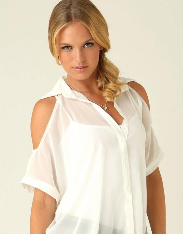 Chiffon - Camisa feminina Cut Out Shoulder