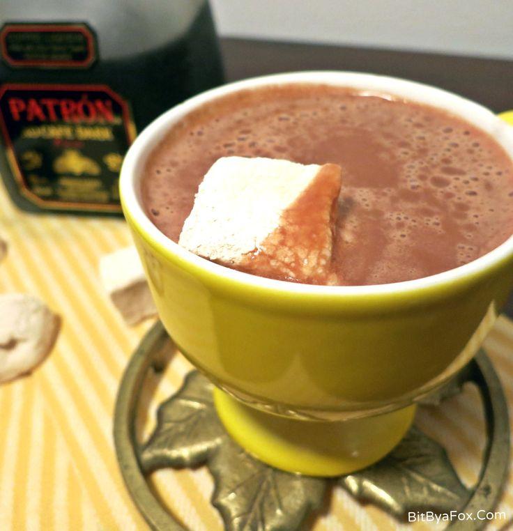 Boozy Hot Chocolate with Patron XO Cafe Dark Cocoa. And Maple Marshmallows!