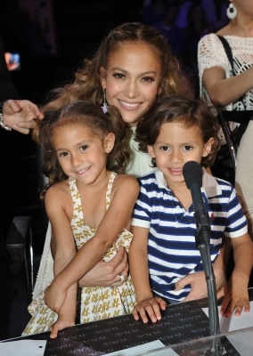 Jennifer Lopez with daughter Emme and son Max at 'American Idol'