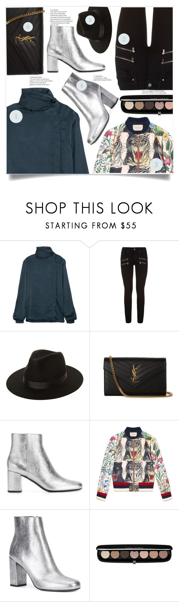 """Senza titolo #2081"" by aanyaa ❤ liked on Polyvore featuring Yves Saint Laurent, Paige Denim, Lack of Color, Gucci, Marc Jacobs and prettyunderpinnings"
