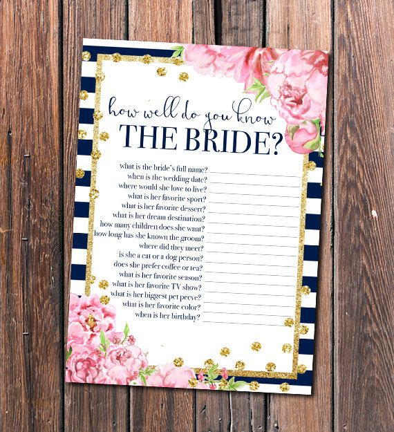How well do you know the bride? is a great bridal shower game to engage your guests and learn more about the bride-to-be. Who knows the bride best? Find out with this fab, floral printable!  JPG and PDF files. This how well do you know the bride game card is 5 x 7 in size and prints two per page.  Looking for more bridal shower games in this style? Buy the bundle → http://etsy.me/2aKjbv3  ╔═.♥.══════╗ HOW TO ORDER ╚══════.♥.═╝  → Purchase this listing → After payment is confirmed, click…