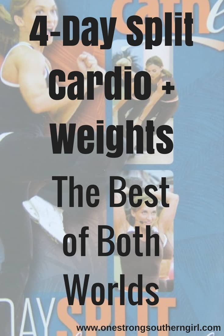 4-Day Split Cardio + Weights-The Best of Both Worlds-One Strong Southern Girl-This Cathe Friedrich program has 27 advanced routines. I'll tell you what you need and what you'll be doing in this one (one of my favorites).