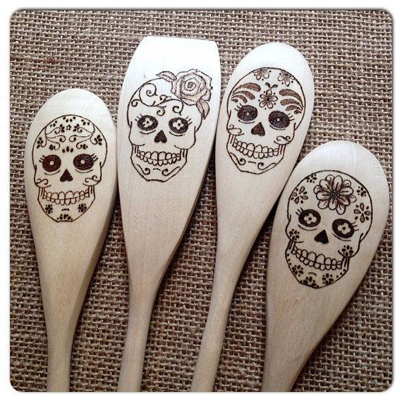 Custom Wood Burned Sugar Skull Spoons The Ladies by SueMadeThat