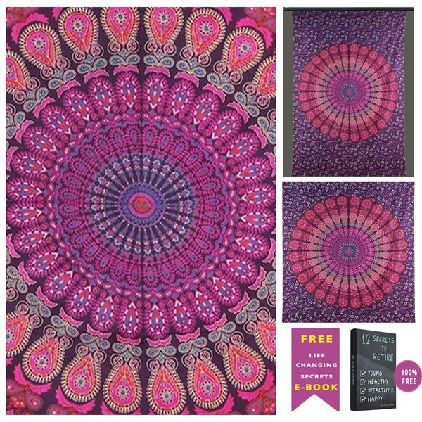 Indian Home Decor Hippie Mandala Bohemian Psychedelic Twin Handmade Tapestry