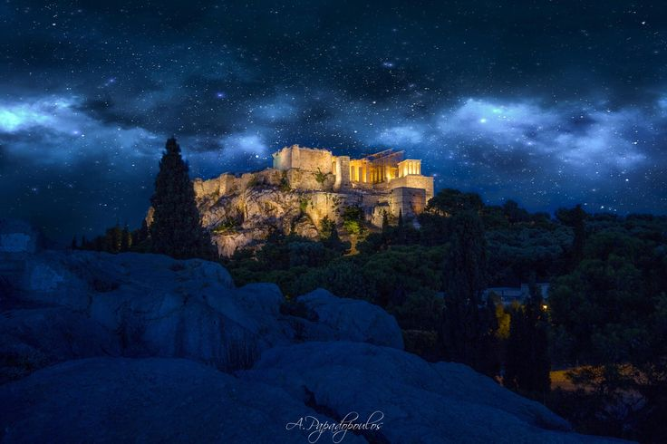 Over lights of Athens - Acropolis