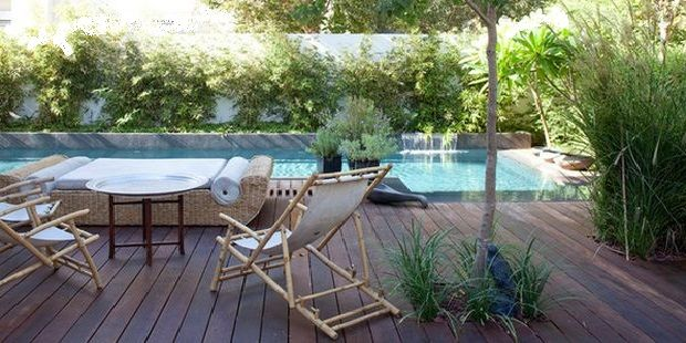 Pool Design for House with Patio Furniture