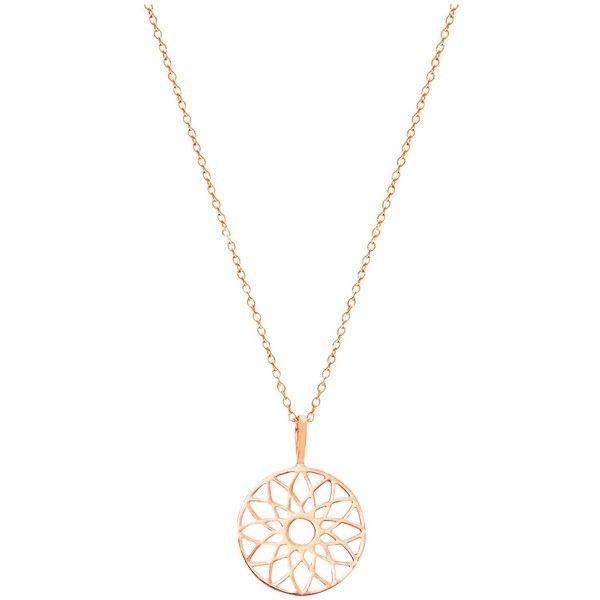 Auren Dreamcatcher Pendant Necklace (£55) ❤ liked on Polyvore featuring jewelry, necklaces, rose gold, white gold chain necklace, charm pendant necklace, rose necklace, monogram necklace and white gold charm necklace