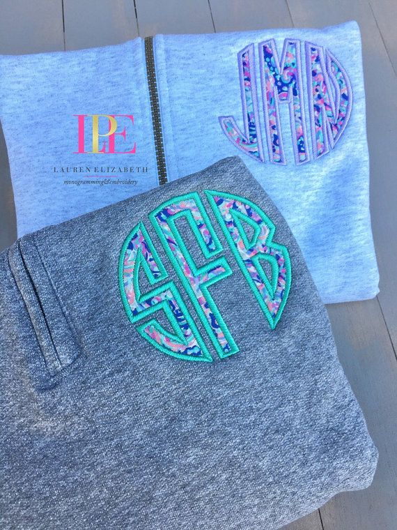 SALE Lilly Pulitzer Inspired Monogram Quarter Zip Pullover Sweatshirt (Adult Small-3XL)