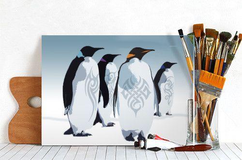 Penguin Poster. Ice Gang by Emily Pigou. #winter #penguins #animals #gang #badass #tattoo #snow #ice #antartica #homedecor #poster #funny #Illustration #displate #penguinposter #kidsroom
