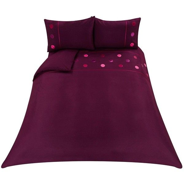 Applique Circles Duvet Cover Set ($29) ❤ liked on Polyvore featuring home, bed & bath, bedding, duvet covers, purple king size bedding, king pillow cases, purple bedding, purple duvet sets and king size bed linen