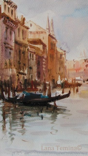 watercolor by Lana Temina.  #venice #watercolor #painting #gondola #art #canalegrande