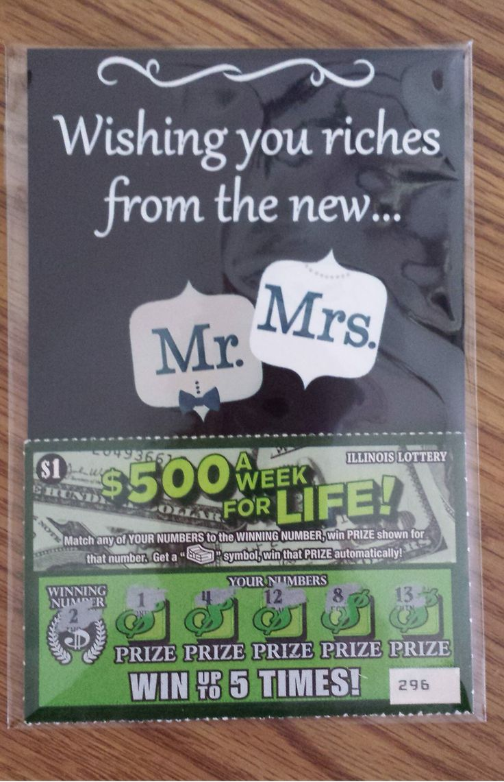 Lottery scratcher wedding guest gift