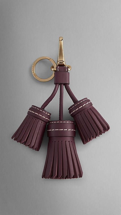 Leather Saddlestitch Tassel Key Charm