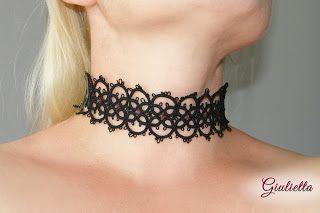 Giulietta - biżuteria frywolitkowa tatting tatted lace dusik biżuteria gotycka goth frywolitka