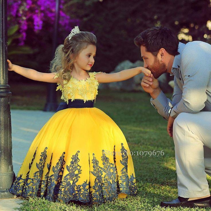 Encontre mais Vestidos de Dama de Honra Informações sobre Designer 2015 amarelo Pageant vestidos formais vestido de baile vestidos de crianças vestidos para casamentos, de alta qualidade Vestidos de Dama de Honra de Dresses Season em Aliexpress.com