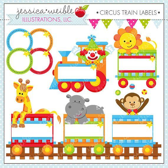 Tren de circo etiquetas lindo Gráfico Digital por JWIllustrations