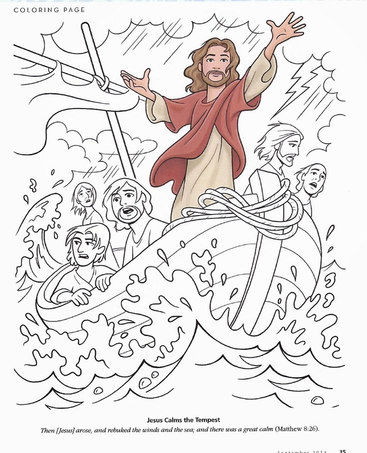 Matthew 8:23-27; Mark 4:35-41; Luke 8:22-25; Jesus Has Power Over Creation; Jesus Calms the Storm Coloring Page
