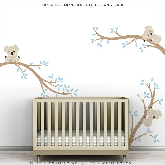 Beige Blue Wall Decal Baby Nursery Decor Tree by TheKoalaStore, $79.00