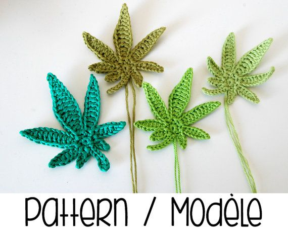 PDF PATTERN : Marijuana leaf crochet pattern - crochet pot leaf pattern - crochet marijuana - crochet weed leaves applique pattern