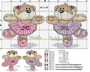 Fizzy Moon ballerina bear cross stitch #embroidery