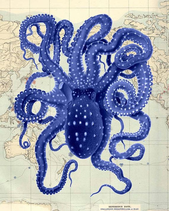 Octopus Vintage Blue on Map, Octopus print Nautical print beach house decor wall…