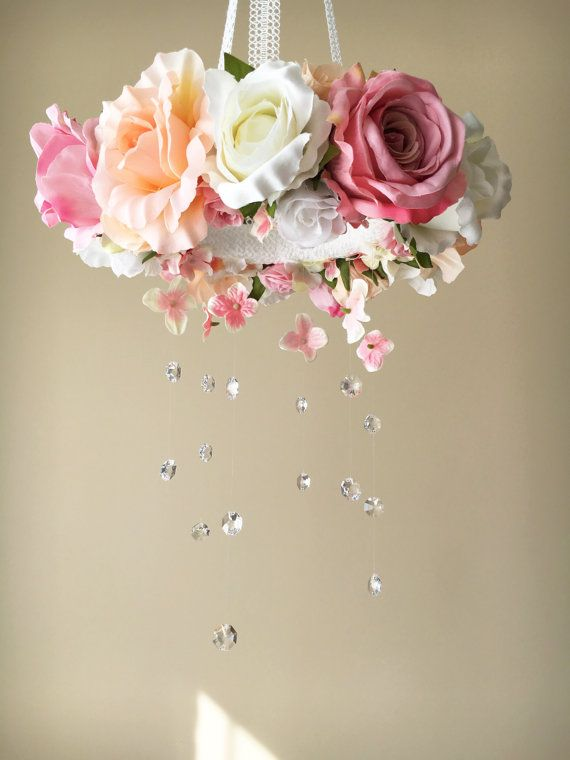 Wedding chandelier Flower baby mobile with by PaulettaStore