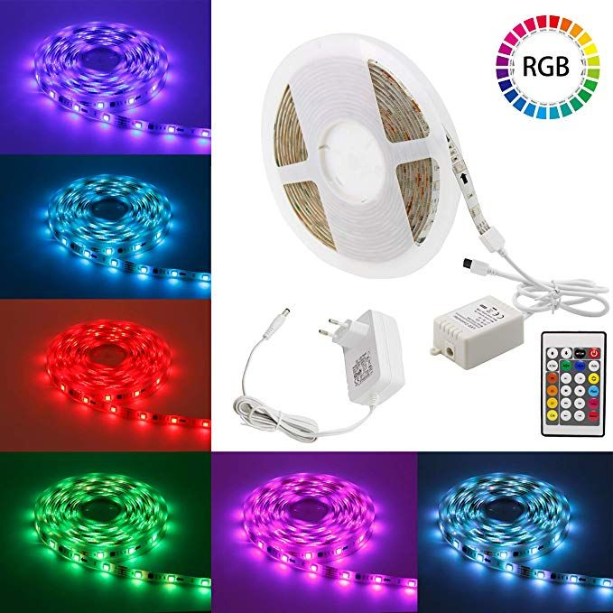 Led Strip Lights Myplus16 4ft Adjustable Smd 5050 Rgb Led Light Strip With 150pcs Leds And Color Chan Led Strip Lighting Led Lighting Bedroom Led Light Strips