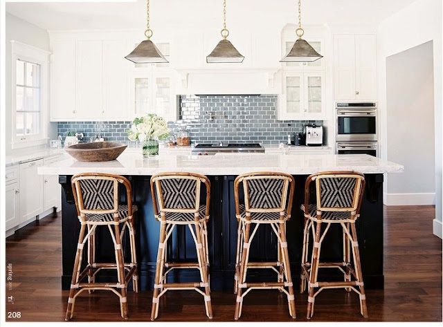 the long and short of it: Dream Kitchen: Rachel of Excellence as a Habit: Kitchens, Ideas, Interior, White Kitchen, Bistro Chairs, Bar Stools, Barstool, Subway Tiles, Island