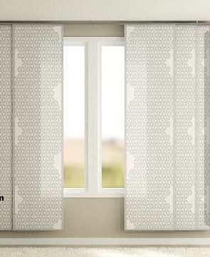Wall art -Ikea's Kvartal  track system uses decorative panels instead of traditional curtains