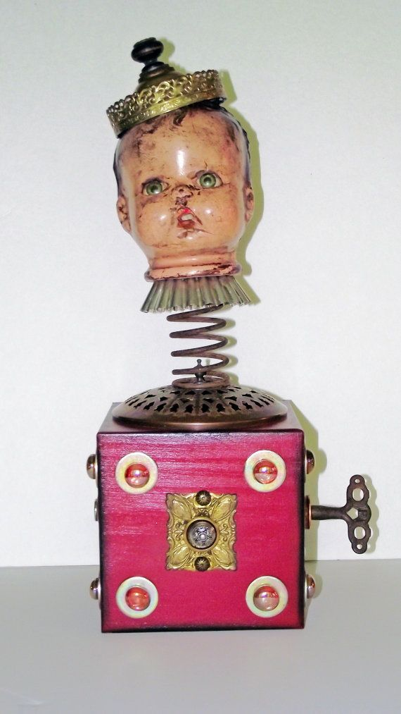 OOAK Art Doll Assemblage Jack In The Box by rustybuttonstudio