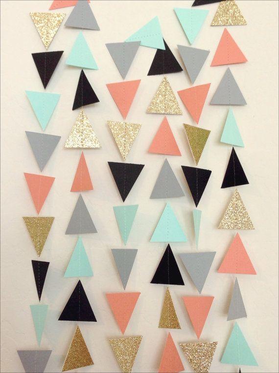 Corail menthe or gris noir géométriques par LaCremeBoutique sur Etsy
