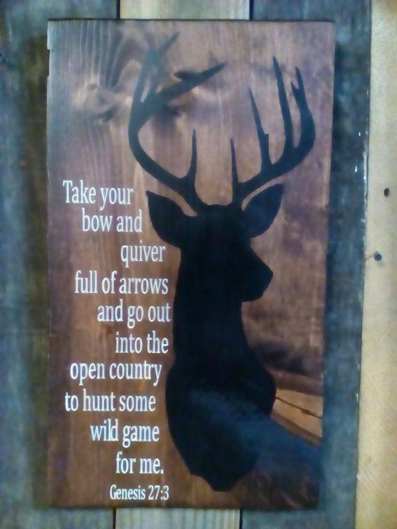 Deer Hunter Bible Verse hanging Sign by ConderosaPrimitives