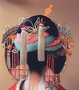 Complicated oiran hair - Japan  For more ethnic fashion inspirations and tribal style visit www.wandering-threads.com