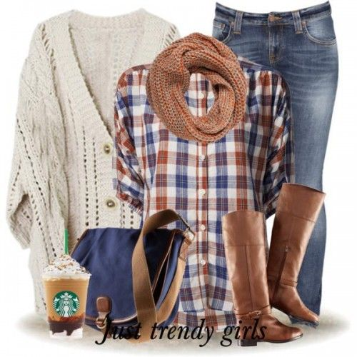 plaid flannel with chunky cardigan outfit