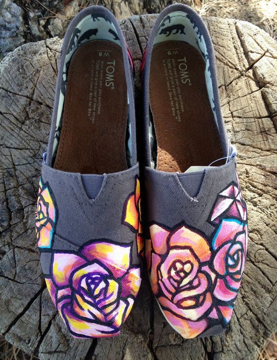 Hand painted Rose Gem Tom Shoes by InSensDen on Etsy, $110.00