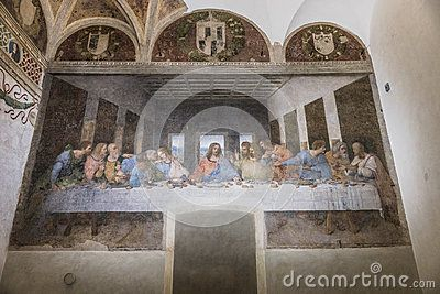 The Last Supper mural painting by Leonardo da Vinci from Renaissance, late 1490s after restoration. shows Jesus and his twelve apostles on the eve of his crucifixion. Milano , Italy , Europe .