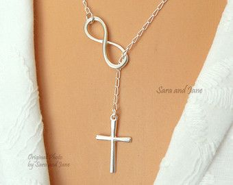 STERLING SILVER Infinity and Cross Necklace by SaraAndJane