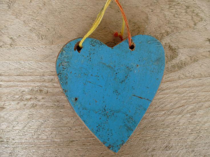 scrapwood hart , blauw