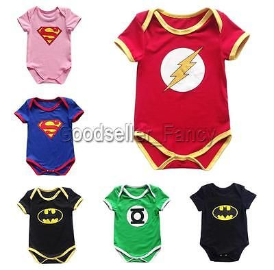 Infant Newborn Baby Romper Outfit Boy Girl Superhero One Piece Bodysuit Jumpsuit