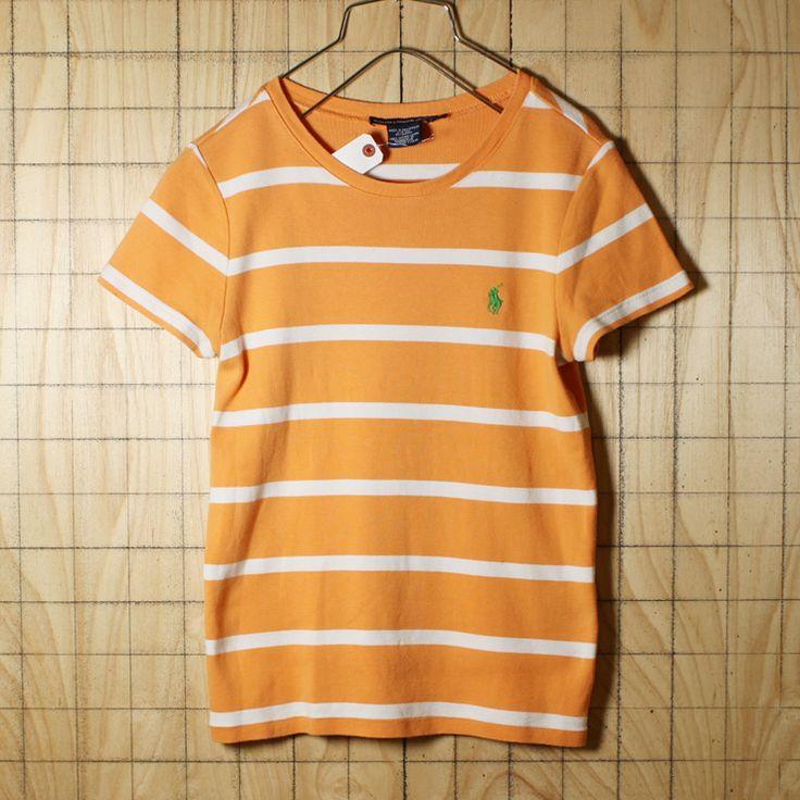 RALPH LAUREN SPORT/古着/オレンジ×ホワイト/コットン100%ワンポイントボーダーTシャツ/レディースLサイズ